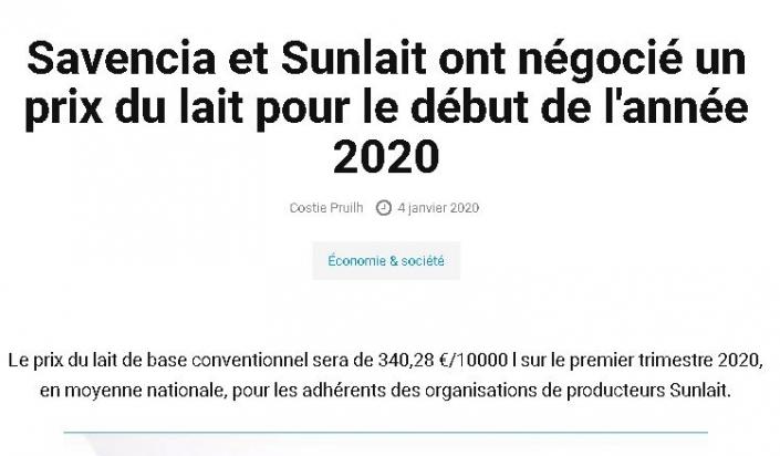 Savencia et Sunlait ont négocié un prix du lait pour le début de l'année 2020